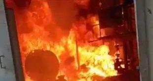 Api sedang membara di ruangan bagian Mesin Boiler (Motoran Pompa) milik PT Transco Fratama