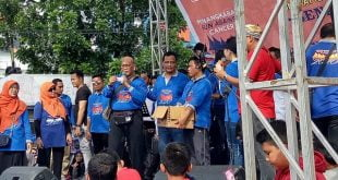 Ketua Kanker Indonesia Prof. Dr. Aru Suyono ketika memberikan sambutan pada Acara Puncak Peringatan Cancer Day 2020 di Sumbar, di Khatib Sulaiman Padang, Minggu (16/2/2020)