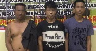 Tiga pemuda yang diciduk karena menyimpan dan menggunakan narkotika jenis sabu dan ganja