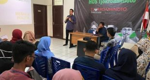 Yuliandre Darwis saat menjadi pembicara dalam Sekolah Kebangsaan HOS Tjokroaminoto di Kawasan Menteng, Jakarta Pusat, Sabtu (15/2)/2020)