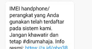 Pesan singkat Kominfo terkait IMEI perangkat handphone (foto ist)