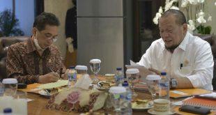 Ketua DPD RI AA LaNyalla Mahmud Mattalitti dalam rapat kerja dengan Menteri Perdagangan RI Agus Suparmanto