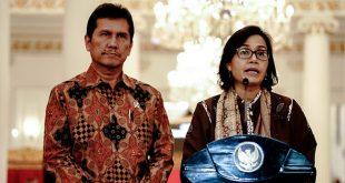 Menteri Keuangan (Menkeu) Sri Mulyani Indrawati memberikan keterangan kepada para awak media dalam konferensi pers mengenai THR 2018 bertempat di Istana Negara Jakarta (23/5/2018)