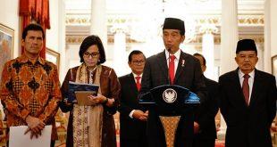 Presiden Joko Widodo (Jokowi) pada Konferensi Pers mengenai THR di Istana Negara pada Rabu (23/5/2018).