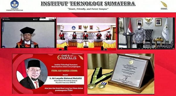 AA LaNyalla Mahmud Mattalitti menerima penghargaan ADI KARSA UTAMA dari Institut Teknologi Sumatera (ITERA) Lampung