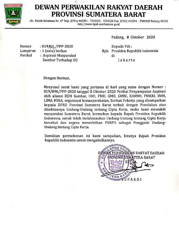 Surat DPRD Sumbar