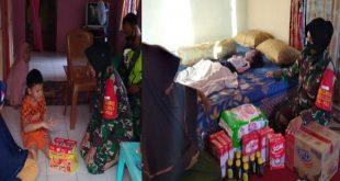 Anggota TNI Kodim 0310 bersama PWI Dharmasraya memberikan bantuan kemanusiaan ke dua bocah menderita sakit cacar