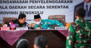 Wakil Ketua DPD RI, Sultan B. Najamudin saat kunjungan kerja dalam rangka pengawasan persiapan pelaksanaan pilkada serentak 2020, di Kantor Bupati Rejang Lebong, Kamis (26/11/2020).