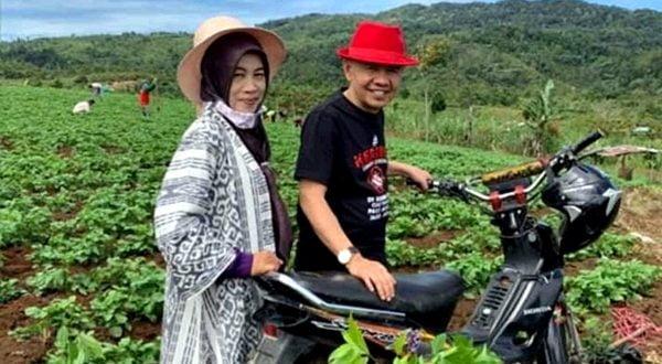Bupati Adirozal bersama isteri, Ny. Nailil Adirozal, di salah satu lahan pertanian rakyat di Kerinci