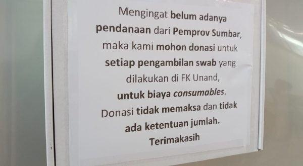 Bantuan Pemprov Sumbar Bantu Lab FK Unand untuk Covid-19 Masih Kabur, Masyarakat Galang Dana